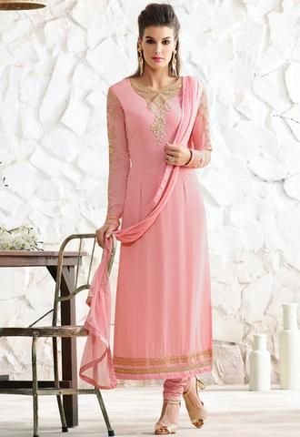 Georgette Pink Straight Cut Salwarsuit Fashion ,Indian Dresses - 1