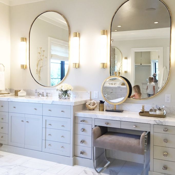 Photo Album Gallery Utah Parade of Homes featuring the Oxford Bath Sconce by E F Chapman CHD Oval Bathroom MirrorOval