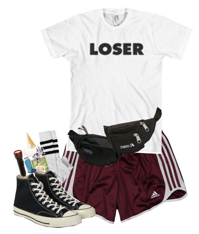 """""""Get me my bifocals, they are in my second fanny pack"""" by x-star-dust-x ❤ liked on Polyvore featuring adidas, Nasty Gal, Converse, JanSport and Everest"""