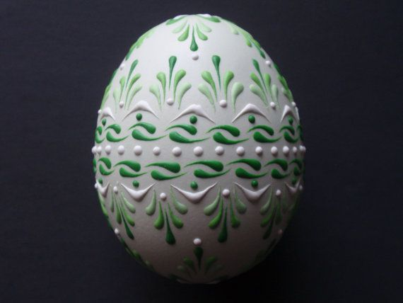 Set of 3 Decorated Green Chicken Eggs Drop Pull by EggstrArt