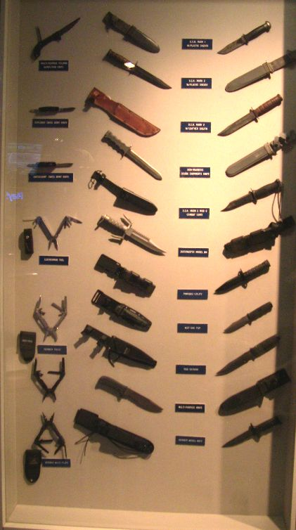 Navy SEAL combat knives - Some of the Museum's vast collection of knives used by Navy SEALs.