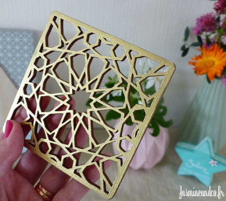 DIY pour faire une boite orientale avec un sous-verre marocain en guise de pochoir zellige. Tuto simple et facile avec Autour du Kitab !