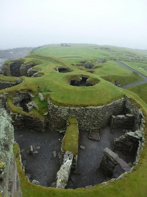 Bronze Age (2000 BC - 800 BC) settlement, Jarlshof, Scotland. On one site, visitors can see overlapping examples of housing from the Stone Age, Bronze Age, Iron Age, Pictish, Norse and Medieval eras, right the way through to the 1600s. The settlement lies on Shetland, Scotland, a subarctic archipelago about 70 miles northeast of mainland Britain.