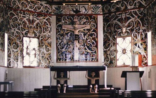 Interior of s church of the Dayak People,  Kalimantan Island, Indonesia.