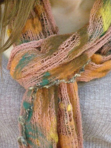 Nuno Felted Scarf, Cheesecloth Gauze, Merino wool Hand dyed