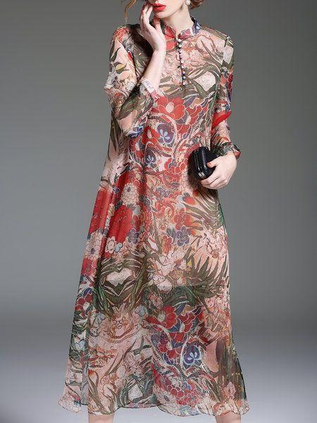 Shop Midi Dresses - Multicolor Floral-print Long Sleeve Floral Midi Dress online. Discover unique designers fashion at StyleWe.com.