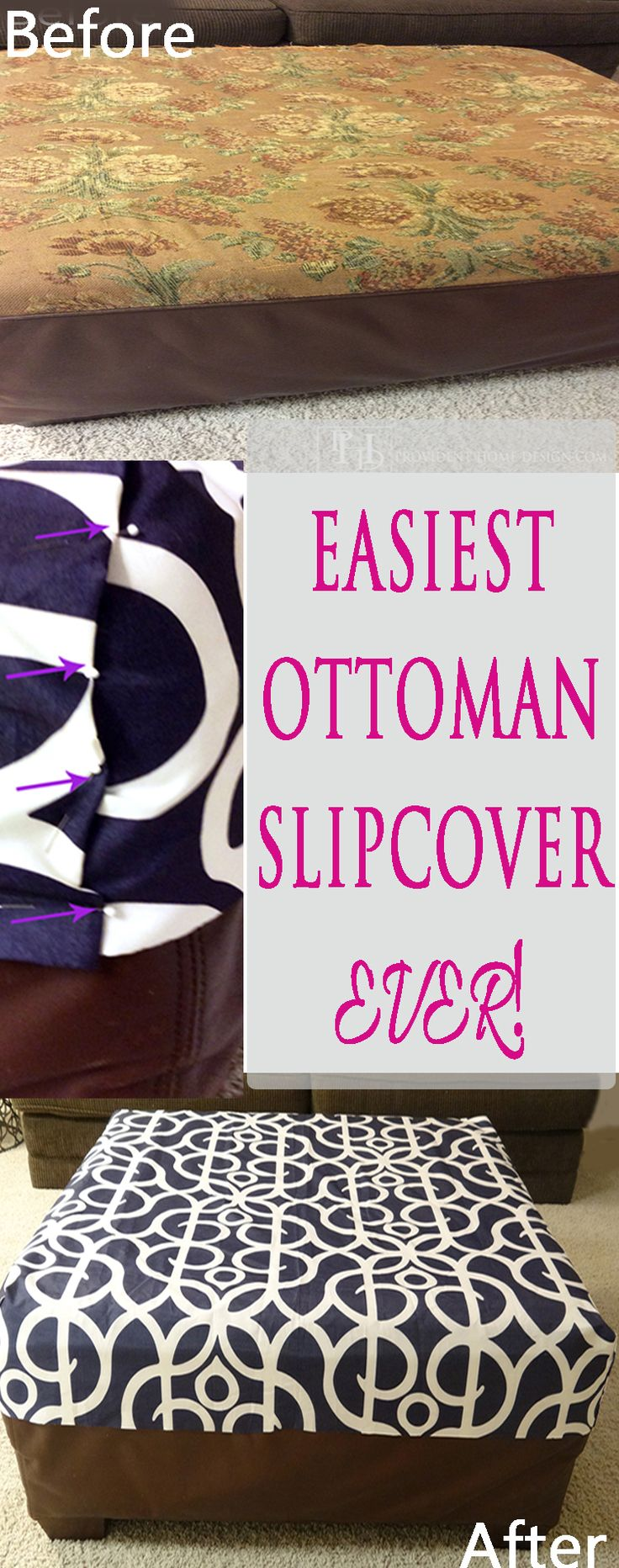 Come read the easiest ottoman slipcover tutorial out there! Step by step instructions with photos!