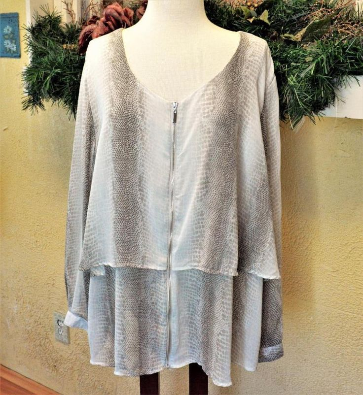 NY Collection 3X Plus Tiered Blouse Taupe Multi Snake Print Zip Front LS Opaque #NYCollection #Blouse #CareerOccasion