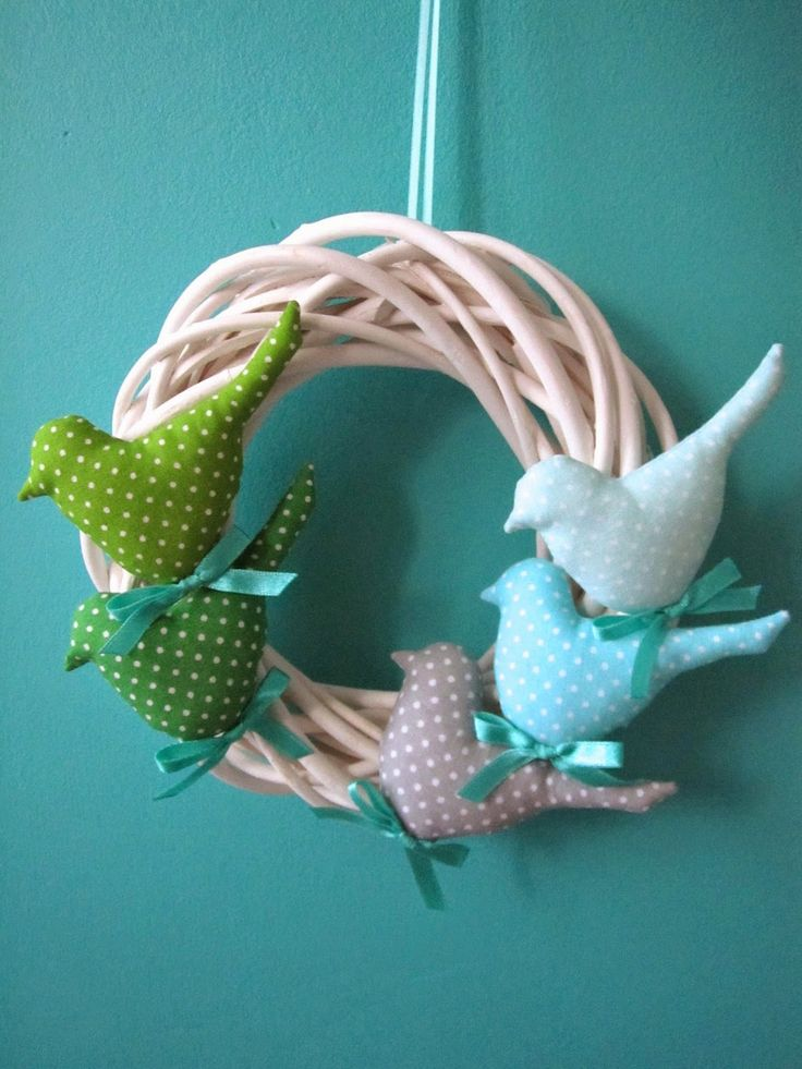 Tilda birds green gray turquoise acqua teal Easter handmade decoration 'created by BB'