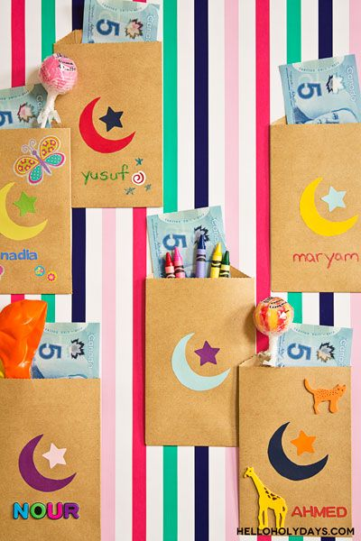 Handing out money to children is a tradition of Eid. For a fun way to hand out money, decorate paper bag pouches with a crescent moon and star.