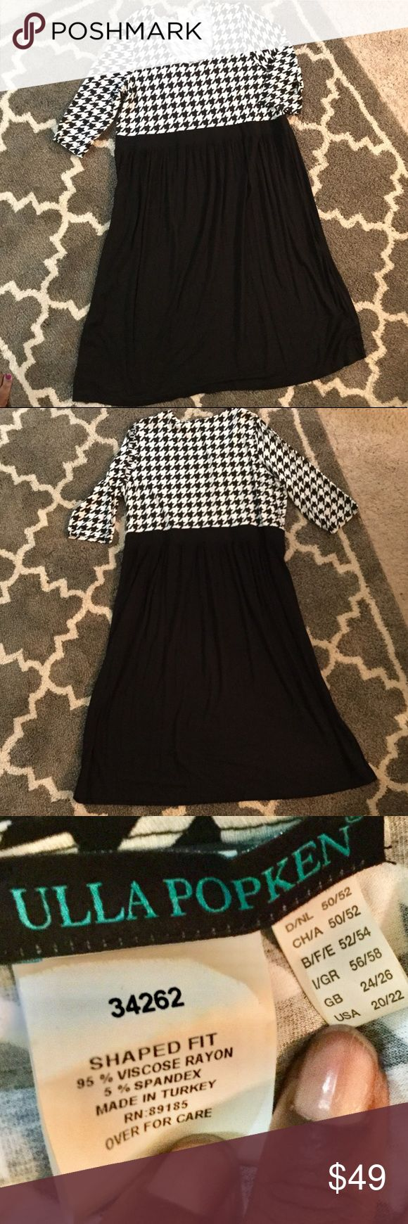 """Houndstooth-Bodice Dress Upscale houndstooth dress with stretch.  Excellent used condition and will definitely become a fast fave.   Size 20/22 as shown on tag in photo.  Measurements: 49.5"""" from neck to hem 48"""" bust unstretched  16"""" neck to waist 18"""" sleeve length  16"""" sleeve width  35"""" shoulder Ulla Popken Dresses"""