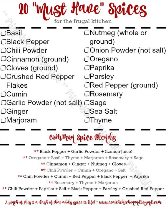 20 Must Have Spices for the Frugal Kitchen A handy printable to stock and organize your spice cabinet