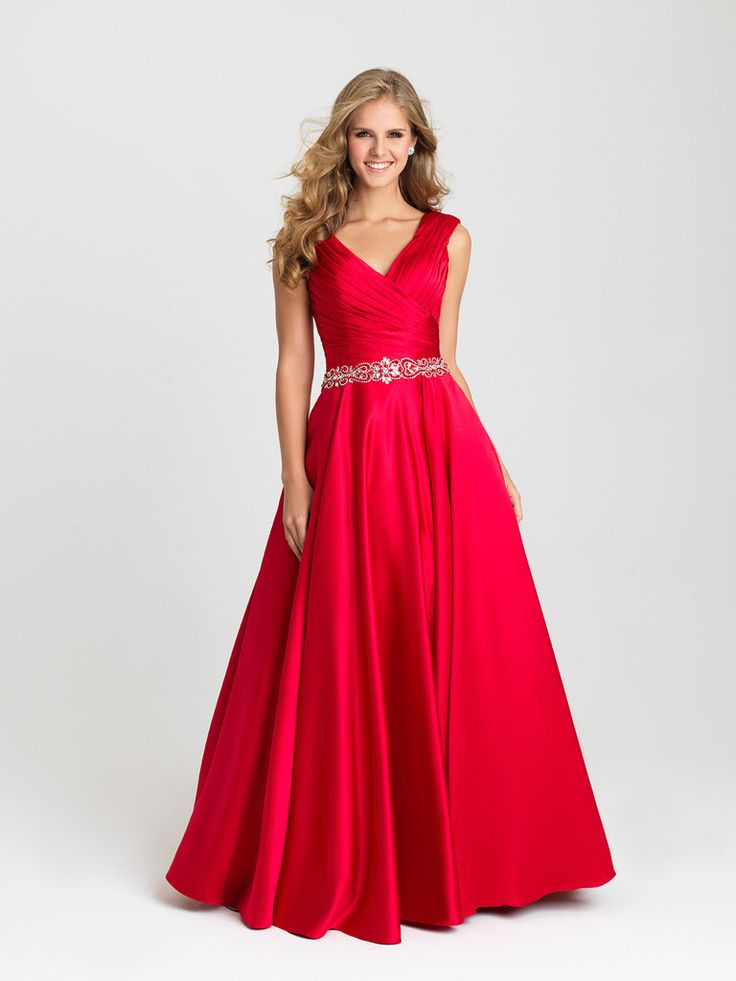 Madison James 16-419 In Stock Red SZ 20 Satin Evening Gown MOB or Modest Prom Dress