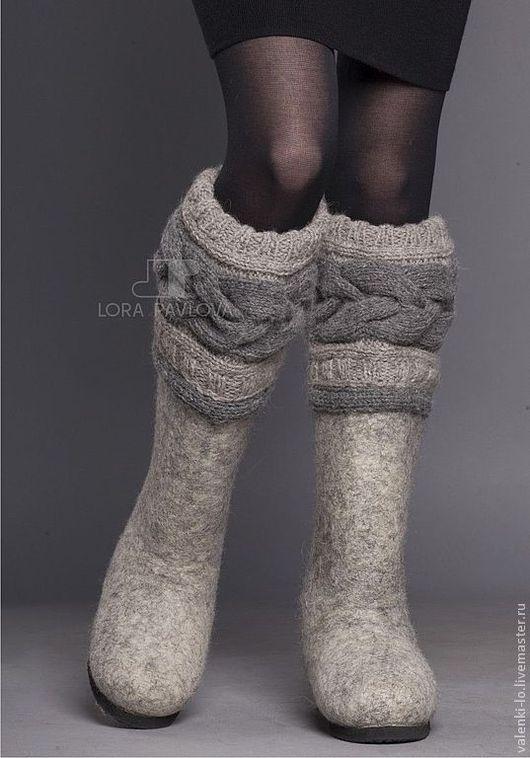 """Обувь ручной работы. Ярмарка Мастеров - ручная работа. Купить """"Classic"""" с серой косой. Handmade. Зимняя обувь, теплая обувь"""