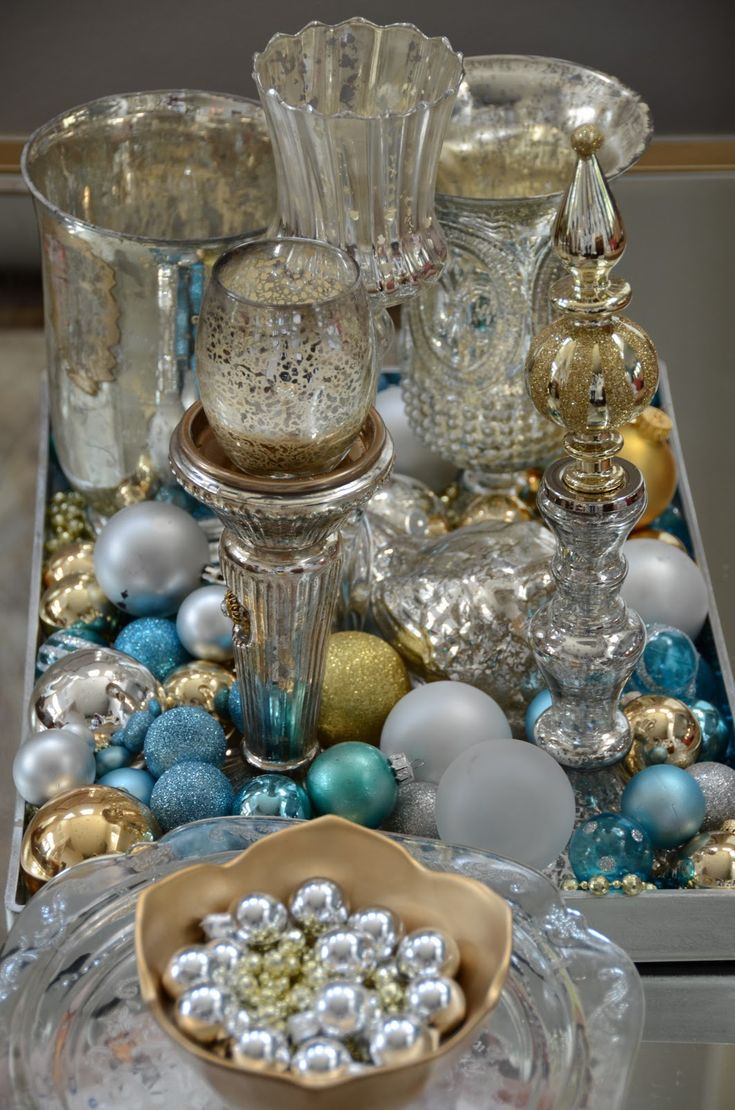 Amanda Carol at Home: Christmas Vignettes blue,silver,white and gold ornaments...mercury accents