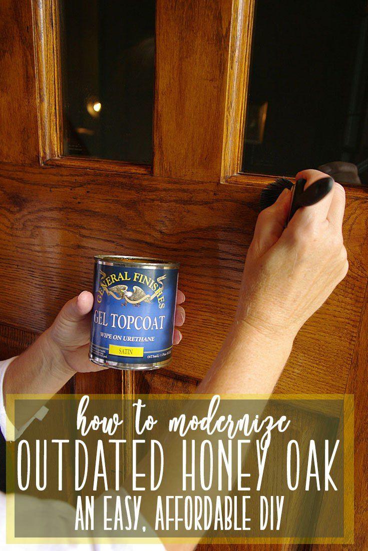 Gel Stain DIY for front door - an easy and inviting update to your front door! rootandbloomforever.com #gelstaindiy #frontdoorupdate #easyhomeupdates #updatehoneyoak