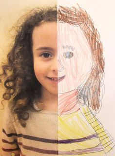 half zelfportret Knip een foto in tweeën en plak een helft op een stuk papier. Laat het kind de andere helft tekenen. Knutselkunst.