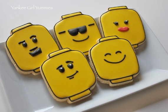 Lego face cookies.  I need this cutter!