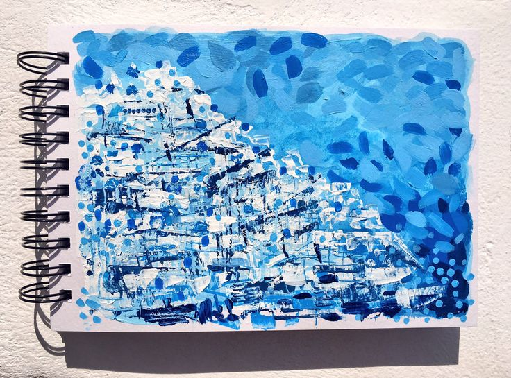 """""""Watch over blue"""" 🇬🇷  5.9x8.3"""", acrylic on spiral bound paper."""