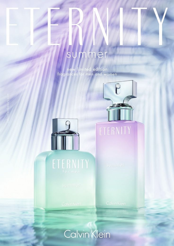 Eternity Summer 2016 is announced as an exotic floral fragrance that evokes a tropical paradise. It opens with accords of palm leaf, bergamot and pear blossom. Frangipani flowers in the heart are mixed with jasmine and tuberose mist. Warm and sensual musk, vanilla and blond woods end the composition.