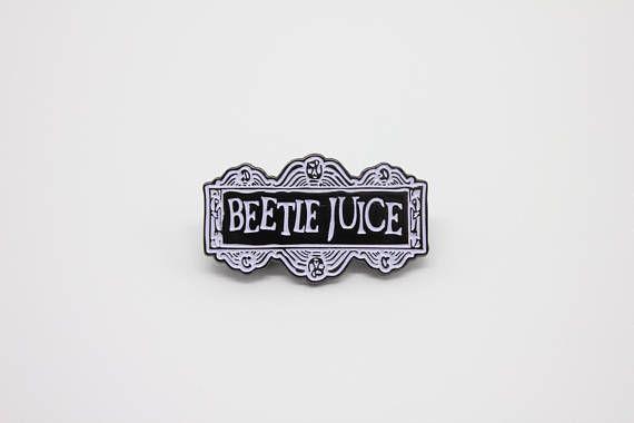 Beetlejuice Black and White Logo Enamel Pin