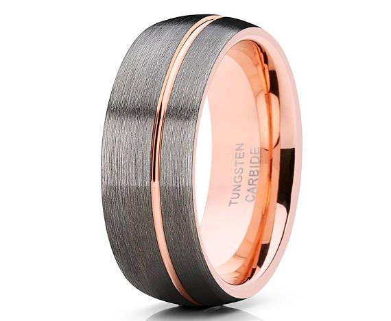 Gunmetal Tungsten Wedding Band Men S Rose Gold Tungsten Ring Rose Gold Tungsten Wedding Ring 18k Rose Gold Anniversary Ring His Hers Mens Wedding Bands Tungsten Mens Wedding Rings Tungsten Wedding