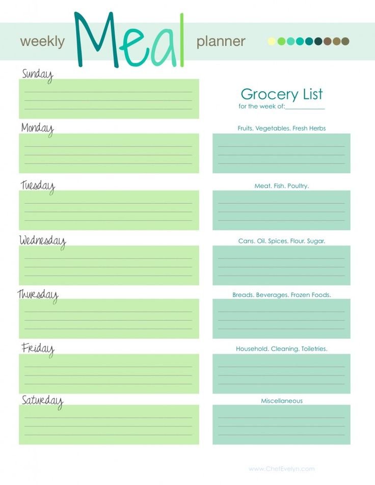 template for menu planning