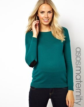 ASOS Maternity Jumper With Heart Elbow Patch