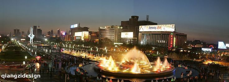 Quancheng Square at night, JiNan City, ShanDong Province, China,   Jinan, the capital of Shandong Province, the City of Springs, is popular among tourists.