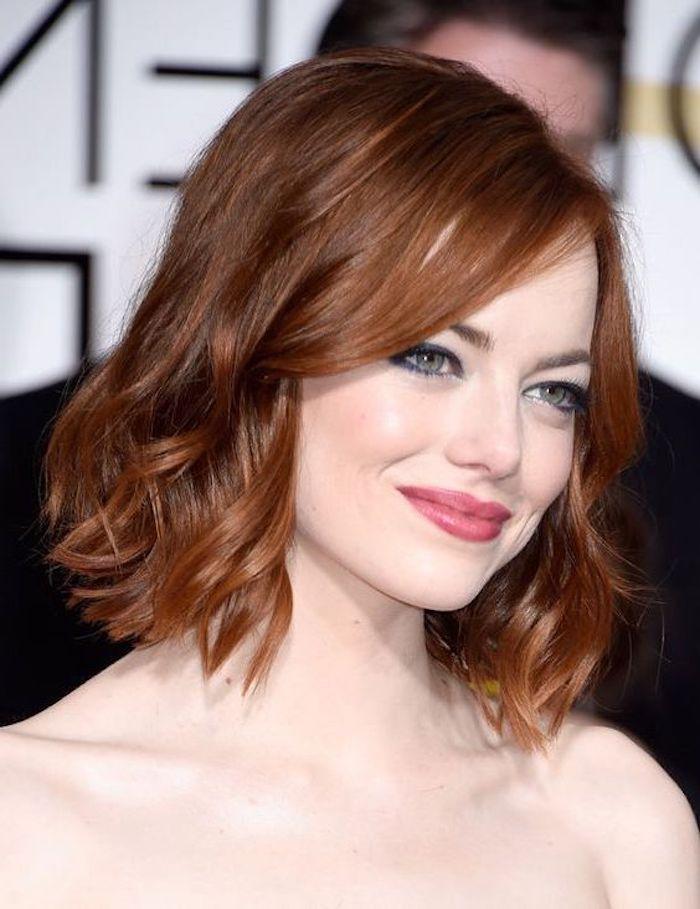 trendige frisuren, kurze rote lockige haare, bob frisur, moderne damenfrisuren