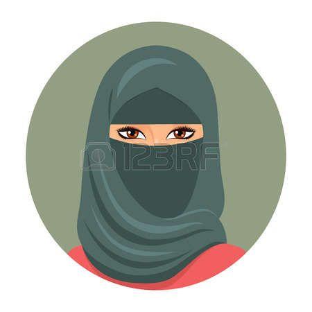 Мусульманская девочка аватар. Портрет молодой мусульманской женщины в хиджабе. Векторная иллюстрация. Иллюстрация