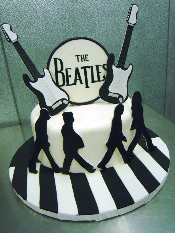 The Beatles Abby Road with Guitars Cake