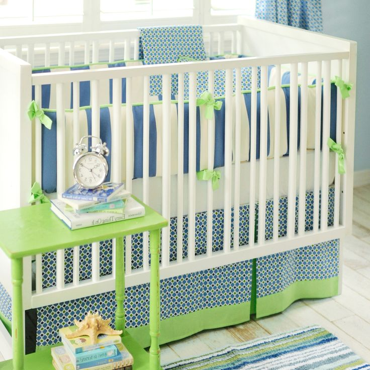Navy, blue, and green boy nursery bedding, New Arrivals Crib Bedding Boardwalk @Layla Grayce