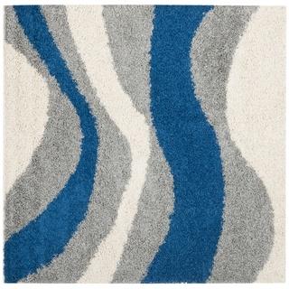 Deco Waves Blue Shag Rug (5' Square) | Overstock.com
