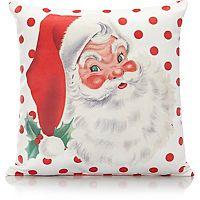 Christmas Santa Polka Dot Small Cushion | Cushions | George at ASDA