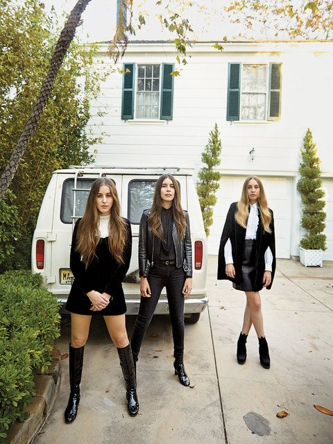 <strong>LEATHER AND LACE</strong> The girl band Haim, made up of (from left) the sisters Alana, 22, Danielle, 25, and Este, 28, standing in Stevie Nicks's L.A. driveway.  danielle's outfit tho