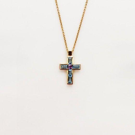 Pendentif croix topaze bleue et améthyste 522 00001