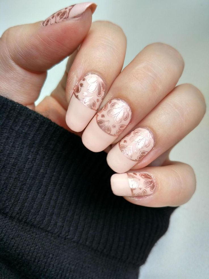 Peach and Rose Gold Nails - perfect for more formal summer festivities!