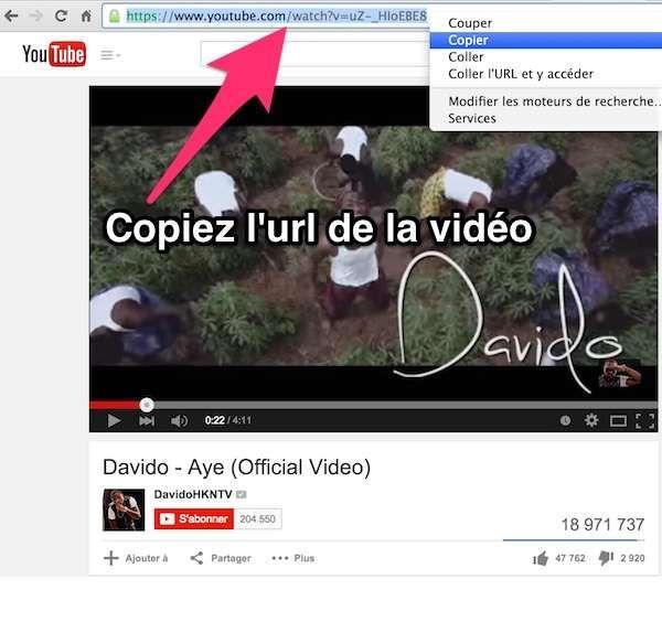 Copiez l'url de la vidéo youtube