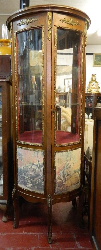 FRENCH LOUIS STYLE ORMOLU CYLINDRICAL BOW FRONTED DISPLAY CABINET BACK LIGHT