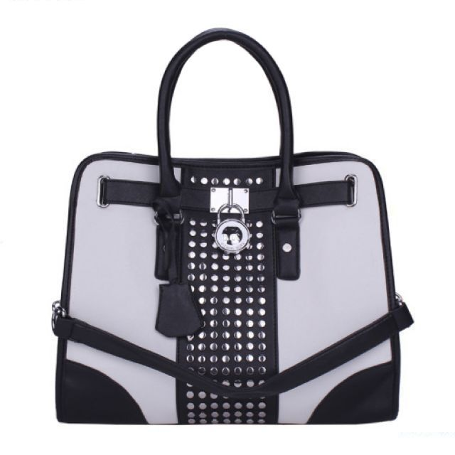 Michael Kors Hamilton Center-Stripe Studded Large Black White Totes only  $71.99
