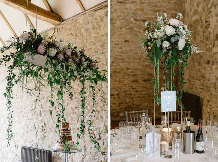 Cascading flowers, hanging flowers at Notley Abbey.  Flowers by Wild Orchid www.wildorchiddesigns.co.uk  Image by Natalie J Weddings