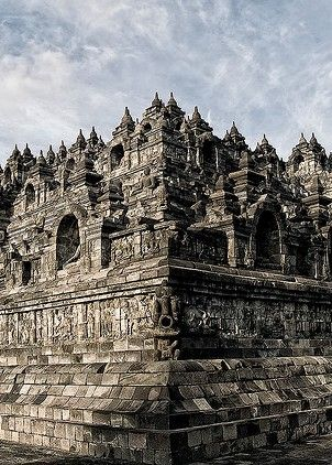 Beautiful Borobudur Temple, Javanese 9th-century Buddhist Temple -- Yogyakarta, Central Java, Indonesia.