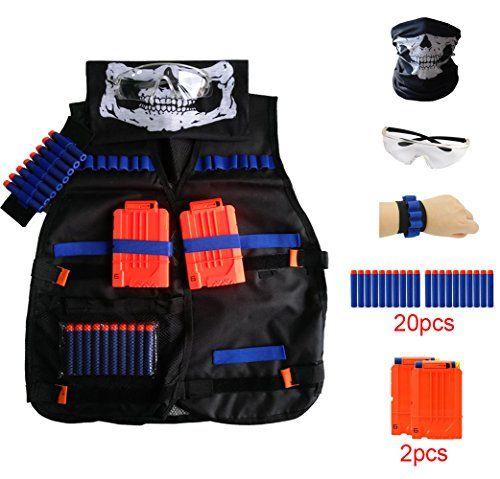 Locisne Kids Jungle Camouflage Tactical Vest Jacket Kit pour Nerf Toy Gun N-Strike Elite Series (avec 20pcs dards en mousse + Lunettes de…