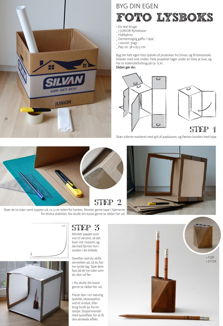 Make a photo lightbox from a cardboard box.