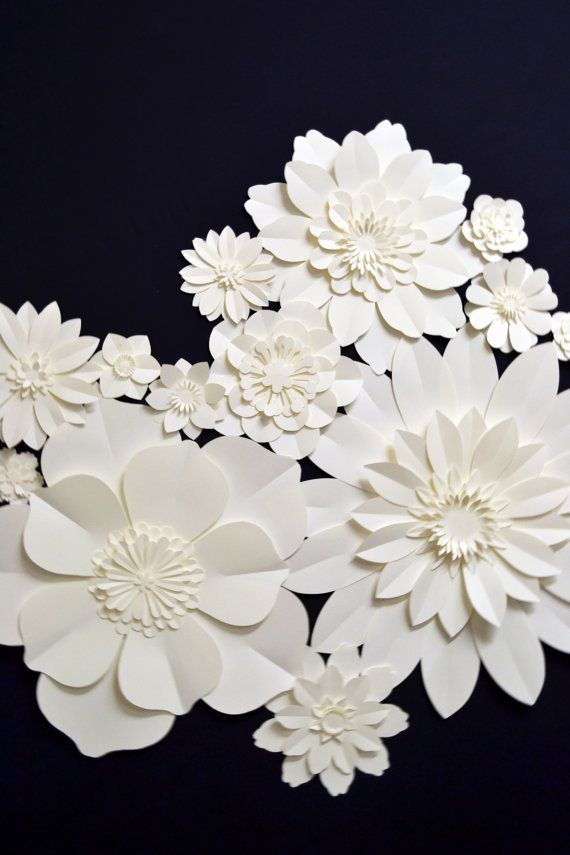 Full set of extra large paper flowers for wedding by comeuppance, £68.50