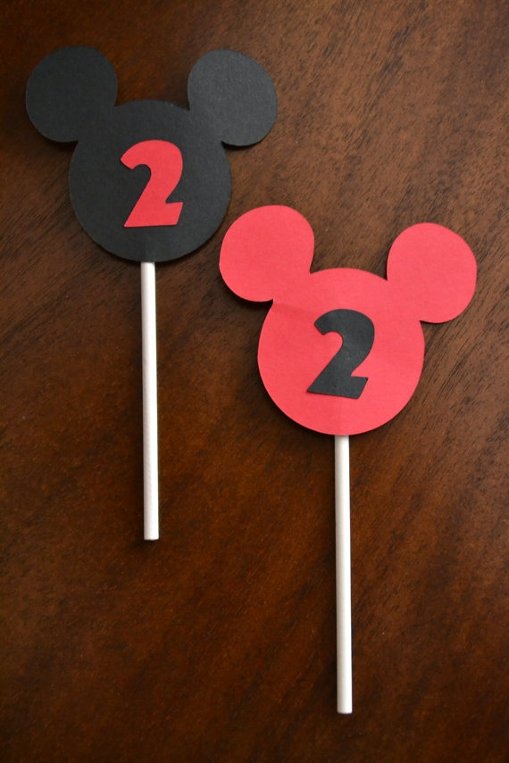 Mickey Mouse cupcake toppers by LilyandLevi on Etsy, $10.00