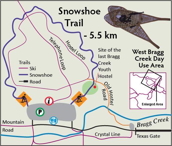 West Bragg Creek snowshoe trail map