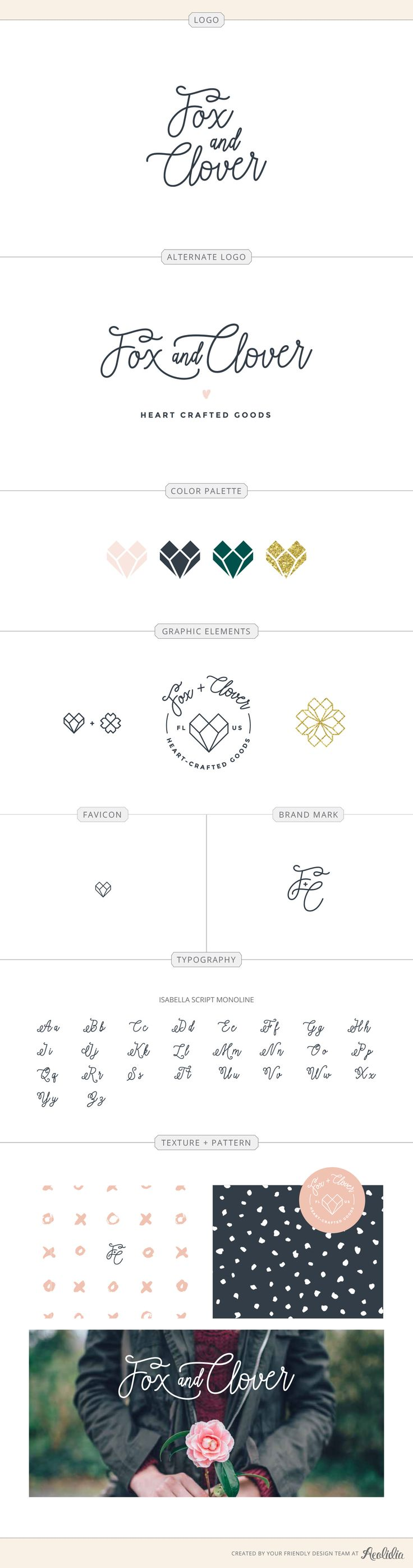 The Fox and Clover brand identity, designed by Aeolidia, is perfectly on trend, yet timeless.