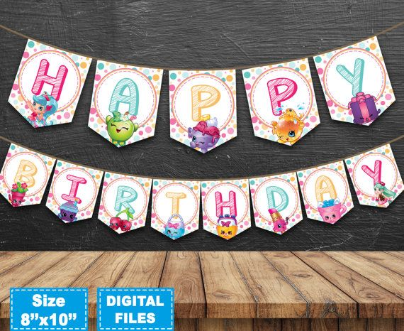 Shopkins banner, shopkins birthday banner, shopkins birthday party, shopkins party supplies, shopkins instant download, shopkins printable.